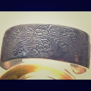 Floral engraved pewter cuff